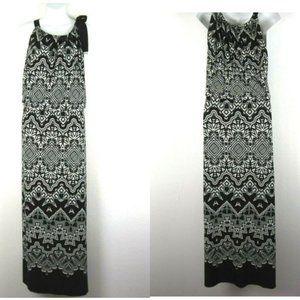 ALFANI Black White Boho 1X 2X Maxi Dress Knit
